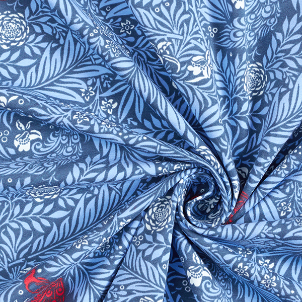 Jersey coton mer de feuilles – bleu jean