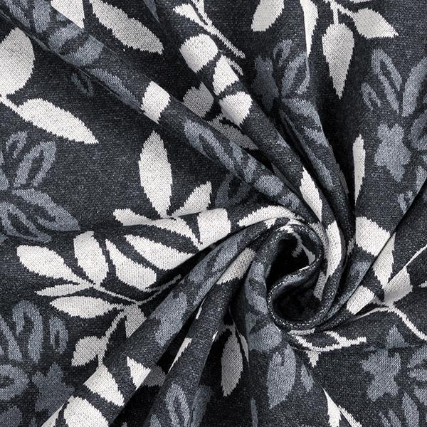 Tricot Jacquard recyclé fleurs et feuilles – anthracite