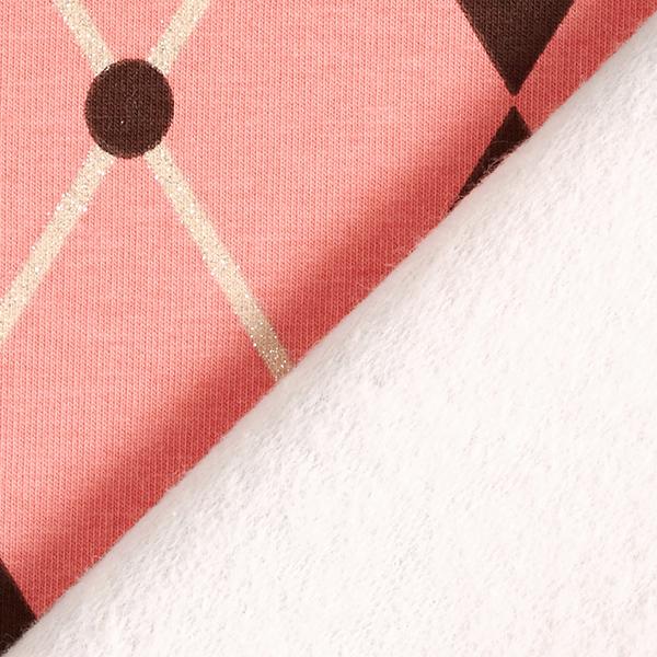 Soft sweater motif débardeur losanges scintillants – saumon/marron foncé