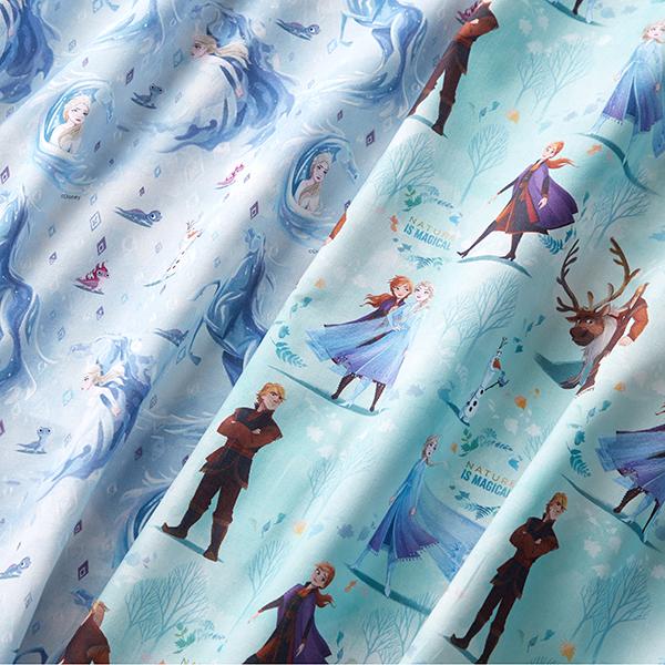 Popeline coton Nature est… | Disney La Reine des Neiges 2 – bleu aqua
