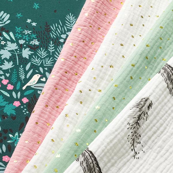 Popeline coton Design de bordures forêt enchantée – vert foncé
