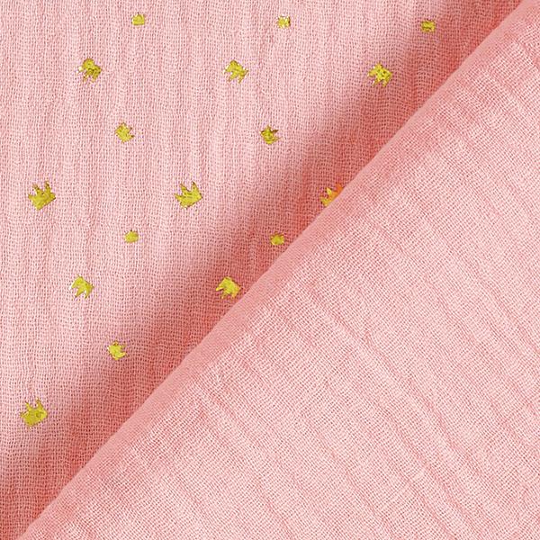 Mousseline / Tissu double crêpe Petites couronnes – rose/or