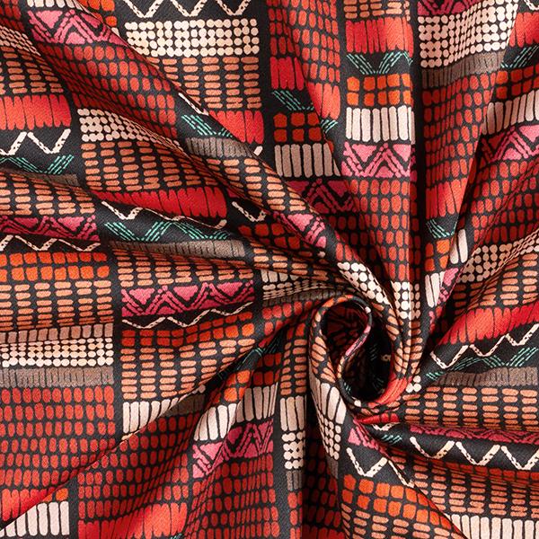 Satin stretch de pantalon motifs africains – noir/rouge-orange