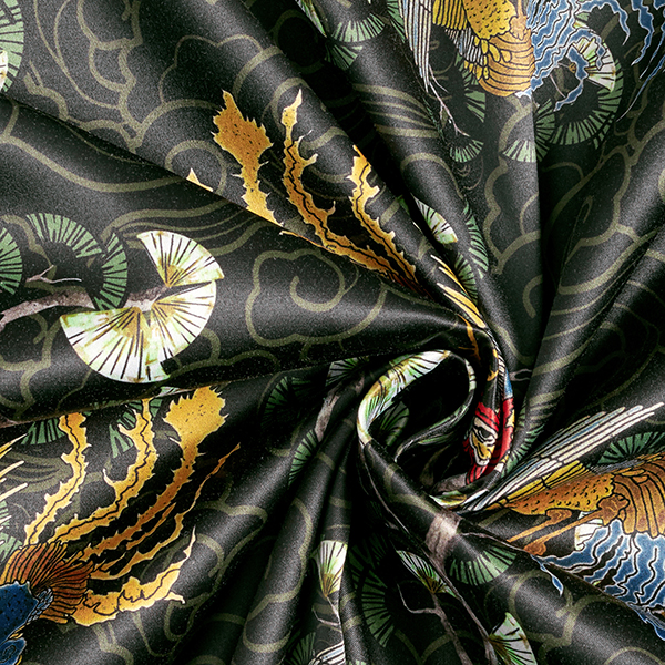 Satin stretch coq de bruyère – noir