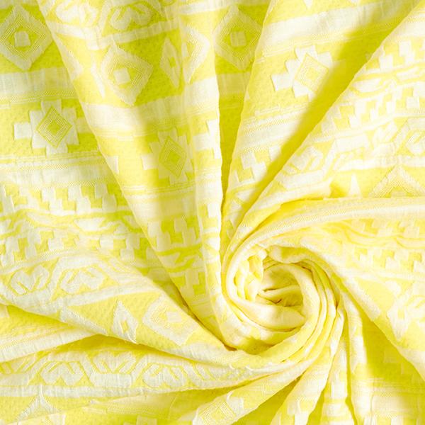Jersey jacquard Motif ethnique – jaune clair