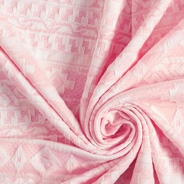 Jersey jacquard Motif ethnique – rose clair