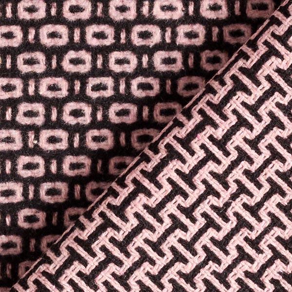 Tissu pour manteau Jacquard Labyrinthe – noir/rose