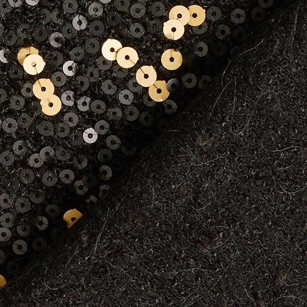 Tissu maille Peau de mouton Broderie à paillettes – noir