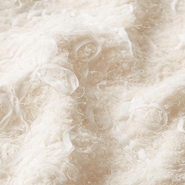 Tissu peluche brodé – écru