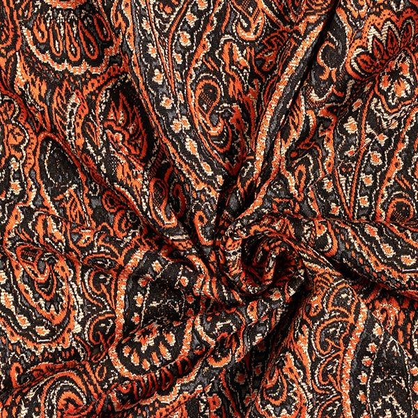 Jersey Jacquard Lurex-Paisley – terre cuite/or