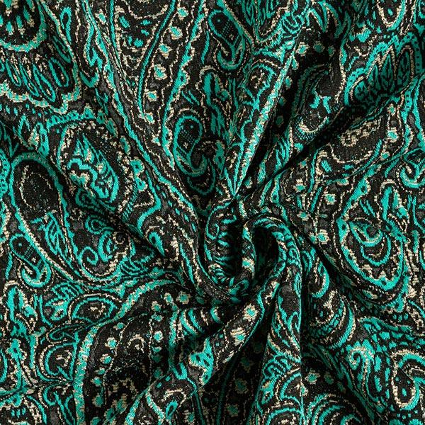 Jersey Jacquard Lurex-Paisley – turquoise/or