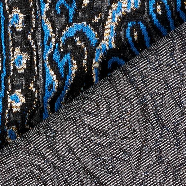 Jersey Jacquard Lurex-Paisley – bleu roi/or