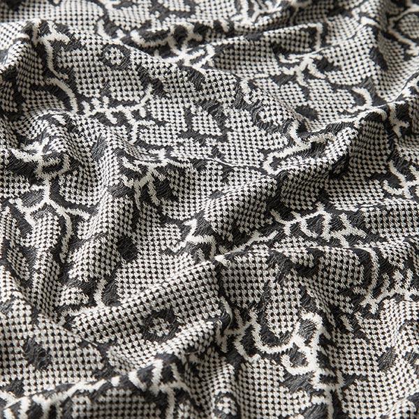 Jersey Jacquard Mélange viscose Motif floral – noir/blanc