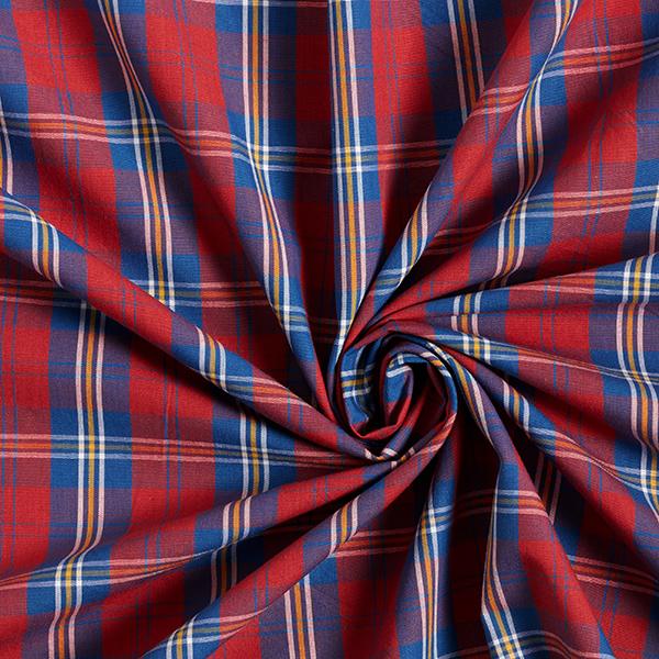 Tissu pour chemise Coton à carreaux – rouge clair/bleu jean