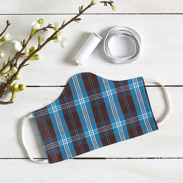 Tissu pour chemise Coton à carreaux – bleu roi/marron foncé