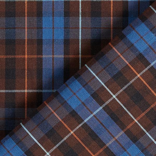 Tissu pour chemise Coton Carreaux fins – marron foncé/bleu jean