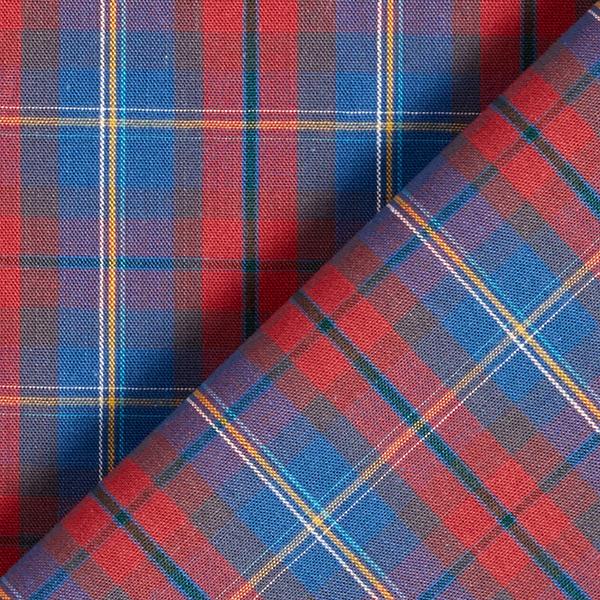 Tissu pour chemise Coton à carreaux avec rayures – rouge clair/bleu jean