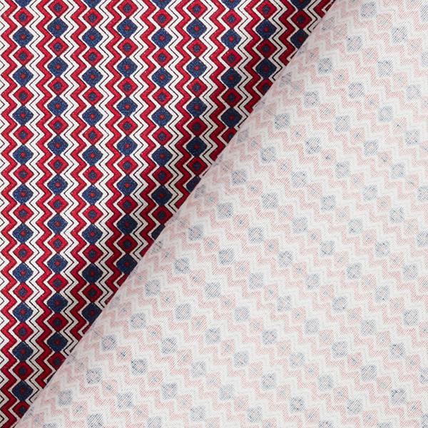 Popeline coton Losanges verticaux – rouge/bleu
