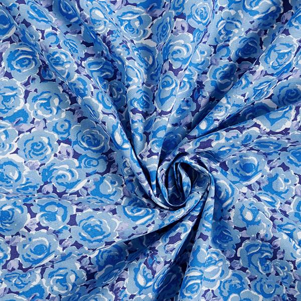 Tissus en coton  Roses – lilas bleu/bleu clair