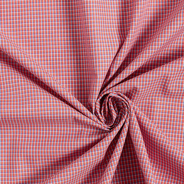 Tissus en coton  Carreaux miniature – rouge clair/bleu jean