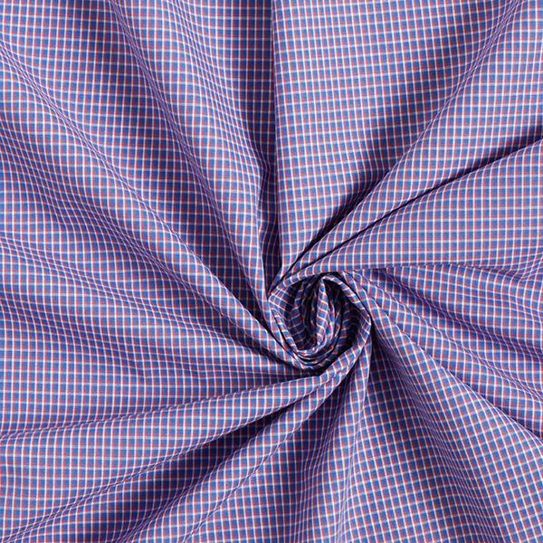 Tissus en coton  Carreaux miniature – bleu roi/rouge clair