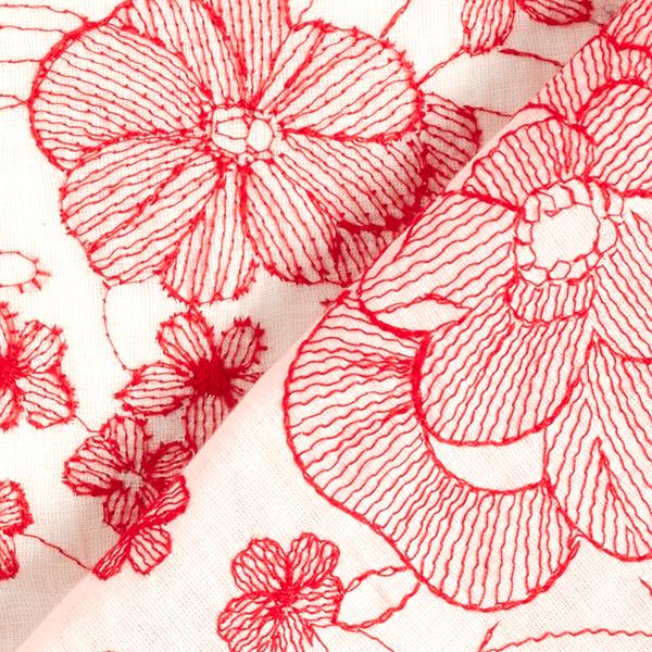 Batiste Fleurs brodées – blanc/rouge