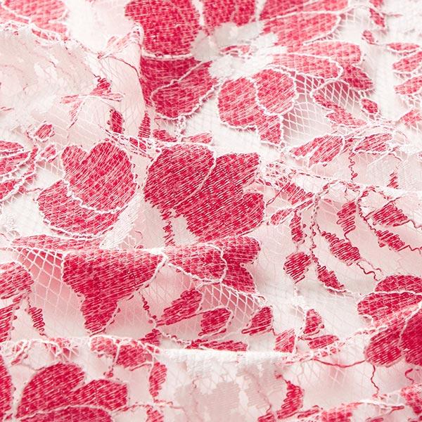 Dentelle de tulle douce Fleurs – blanc/rouge