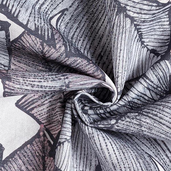 Tissu de décoration Sergé coton Feuilles de bananier – gris bleu