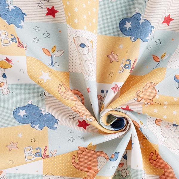 Cretonne baby zoo – bleu clair/jaune
