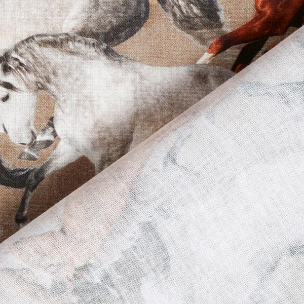 Popeline coton Chevaux sauvages – vase/marron