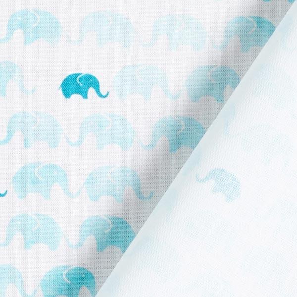 Dekostoff Cretonne Elefanten Polonaise – weiss/aquablau