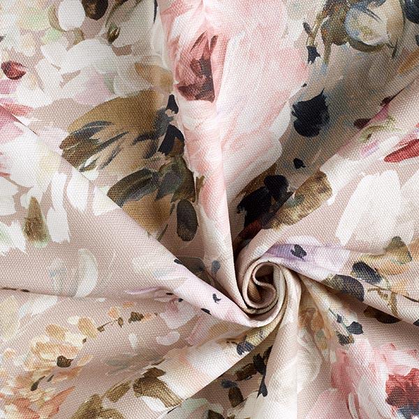 Tissu de décoration semi-panama Floris – beige/rose