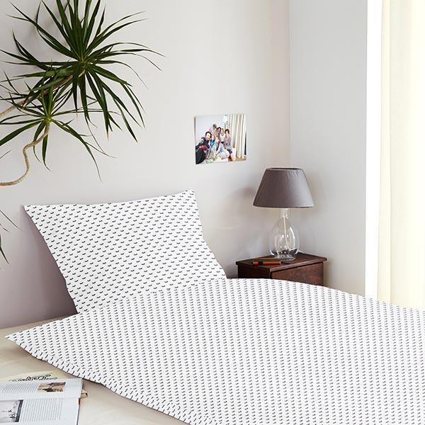 Tissu de décoration cretonne Yeux endormis – blanc