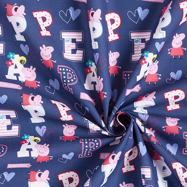 Cretonne Tissu sous licence Peppa Pig «Peppa» | ABC Ltd. – bleu marine