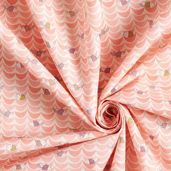 Tissu de décoration cretonne Vagues Poissons – écru/abricot