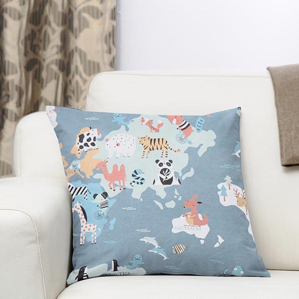 Tissu de décoration Sergé coton Animaux du monde – gris bleu