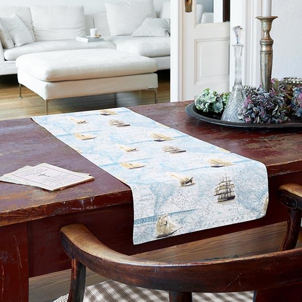 Tissu de décoration semi-panama Worldmap – bleu clair/beige