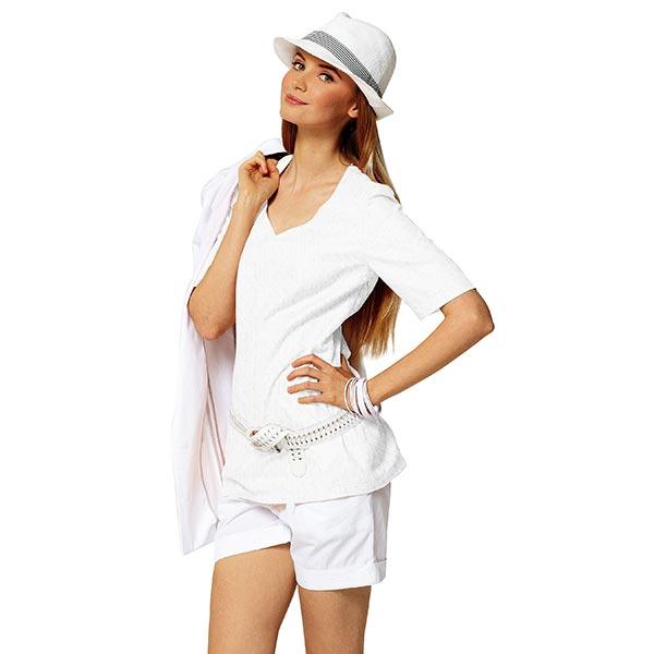 Jersey finement tricoté à motif ajouré – blanc