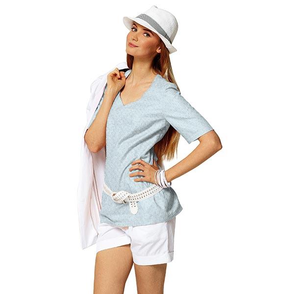 Jersey finement tricoté à motif ajouré – bleu clair