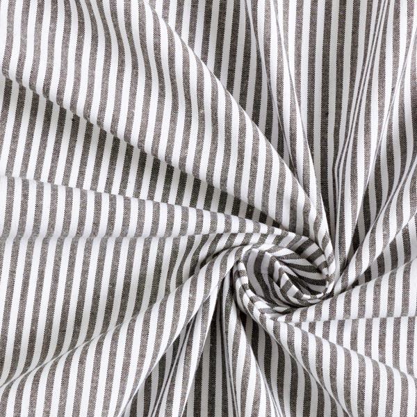 Baumwollpopeline Streifen, garngefärbt – schwarz/weiss