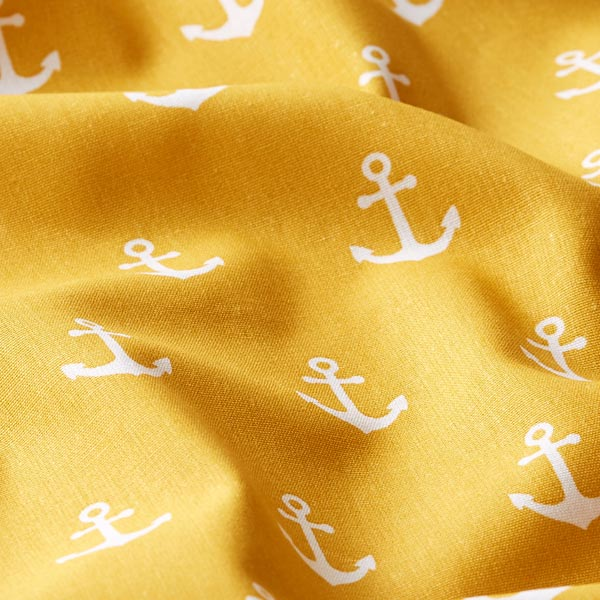 Tissu en coton Ancres – moutarde | by Poppy