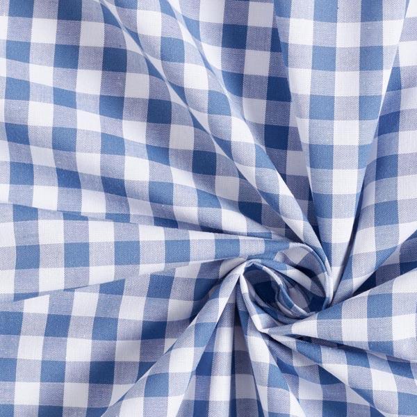 Popeline coton Grands carreaux, teints en fil – bleu jean/blanc