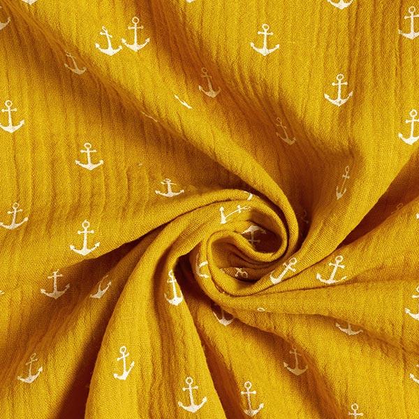 Tissu double crêpe / mousseline Ancre – moutarde/blanc