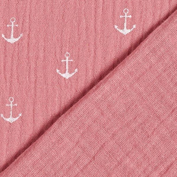 Tissu double crêpe / mousseline Ancre – vieux rose/blanc