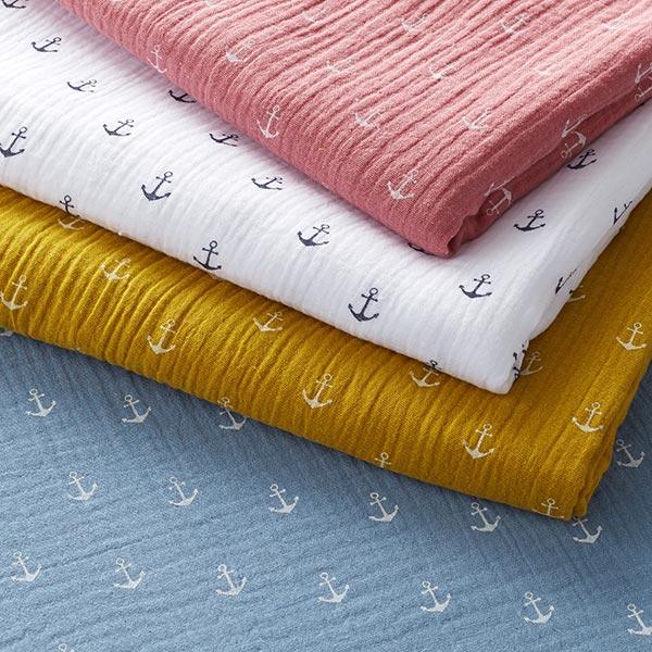 Tissu double crêpe / mousseline Ancre – bleu pigeon/blanc