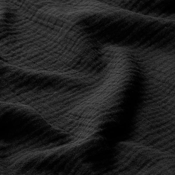 GOTS Musselin/ Doppel-Krinkel Gewebe   Tula – schwarz