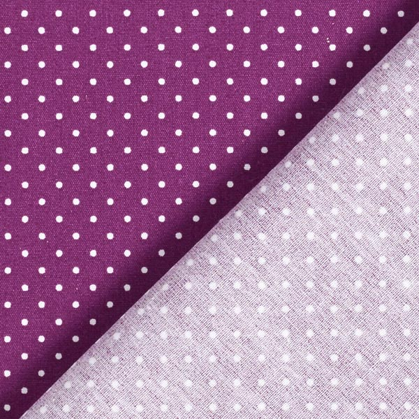 Popeline coton Petits pois – lilas rouge/blanc