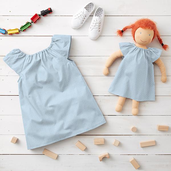 Popeline coton Petits pois – bleu clair/blanc