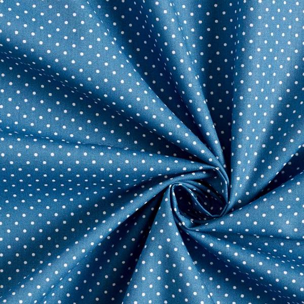 Popeline coton Petits pois – bleu jean/blanc