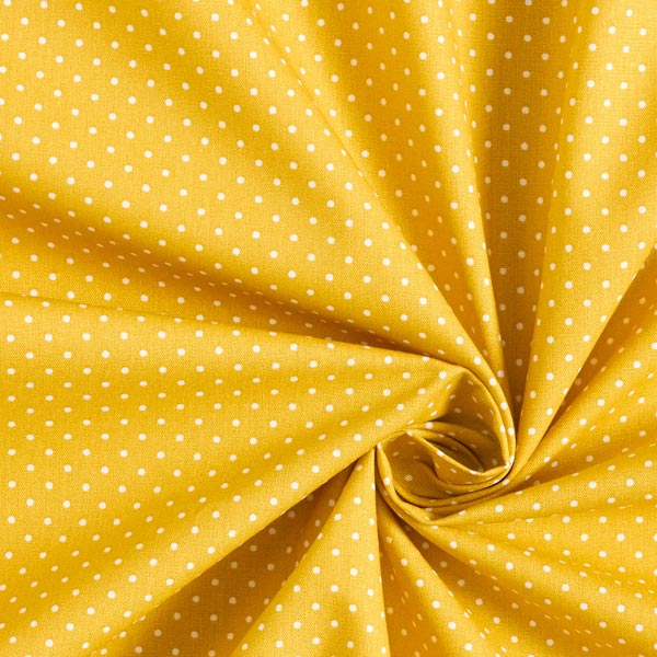 Popeline coton Petits pois – moutarde/blanc
